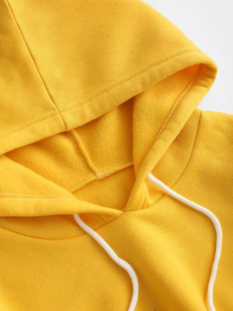 latest Drawstring Fleece Lined Pocket Two Piece Pants Set - YELLOW XS Mobile