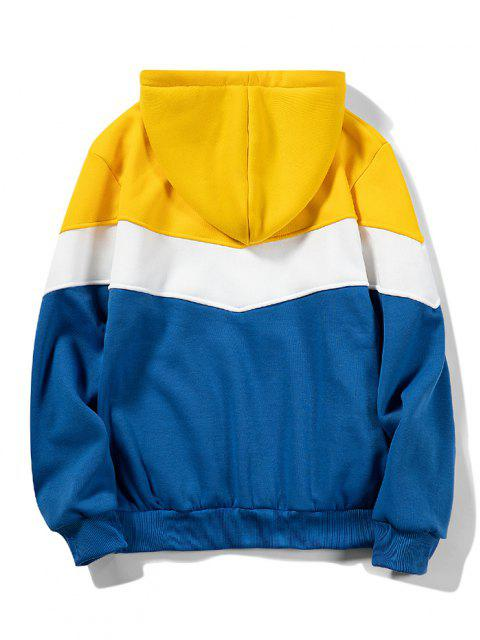 outfits Front Pocket Contrast Fleece Hoodie - YELLOW XL Mobile