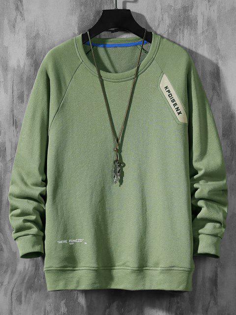Raglanärmel Buchstabe Muster Rundhalsausschnitt Sweatshirt - Grün XS Mobile