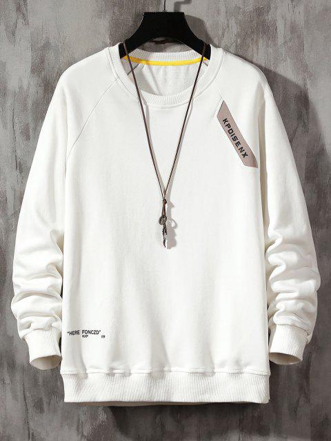 buy Raglan Sleeve Letter Print Crew Neck Sweatshirt - WHITE XS Mobile