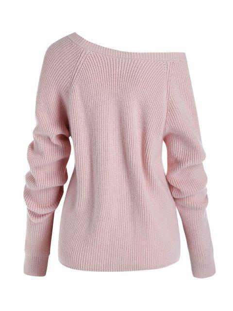 Plus Size Skew Collar Cinched Front Sweater - Hell-Pink L Mobile