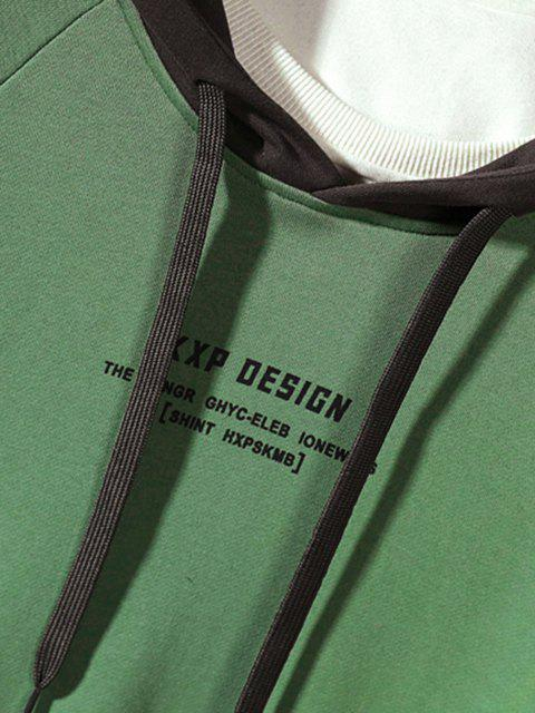 Bloco de Cores Carta de Impressão Gota Ombro Moletom - Verde S Mobile