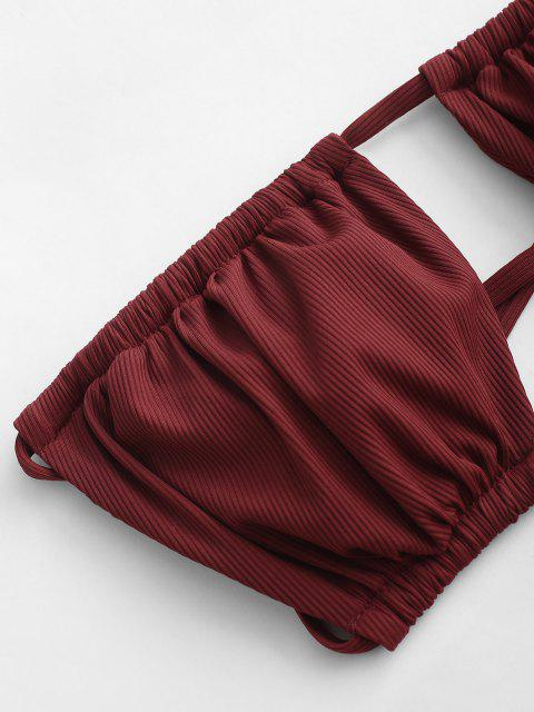 shops ZAFUL Ribbed Cutout Bandeau Tie Side Tanga Bikini Swimwear - DEEP RED S Mobile