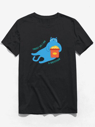 T-shirt Chat Mangeant Lettre Graphique à Manches Courtes - Noir Xs
