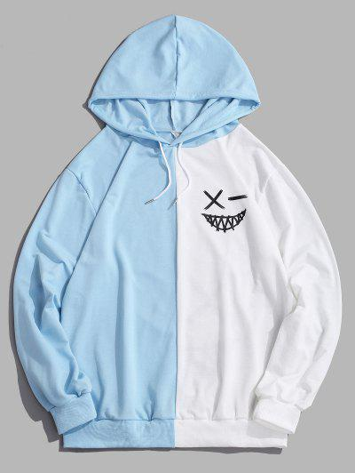 ZAFUL Cartoon Print Contrast Drawstring Hoodie - Light Blue L