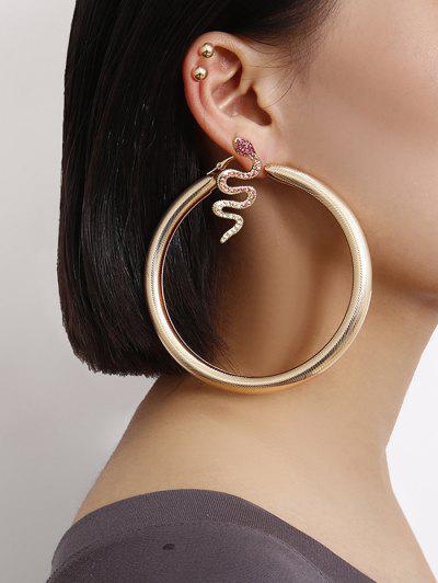Rhinestone Snake Hoop Earrings Set - Gold