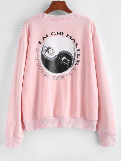 Tai Chi-Druck Oriental Tropfen Schulter Sweater - Hell-pink L