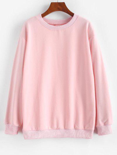 Basic Drop Shoulder Pullover Sweatshirt - Light Pink S
