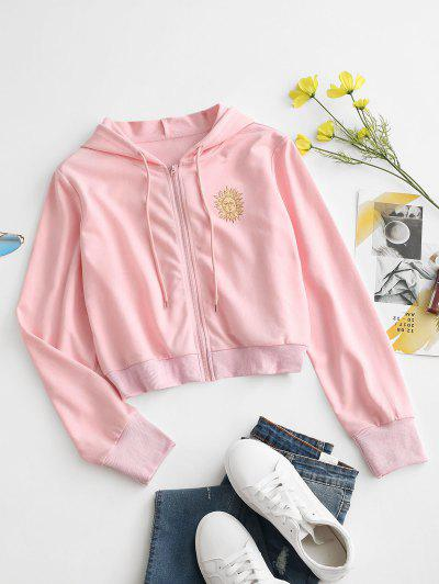 Sun Print Hooded Drawstring Jacket - Light Pink L