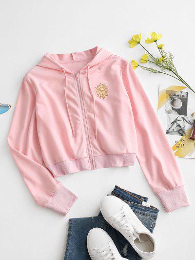 Sun Print Hooded Drawstring Jacket - Light Pink M