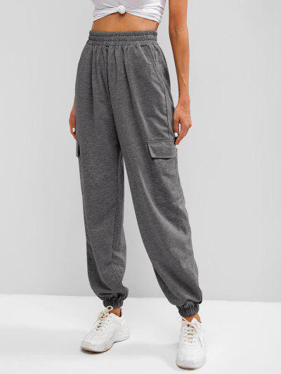 Flap Pocket French Terry Cargo Jogger Pants - Gray S