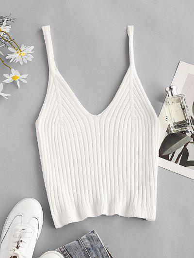 Wide Rib Knit Cami Top - White S