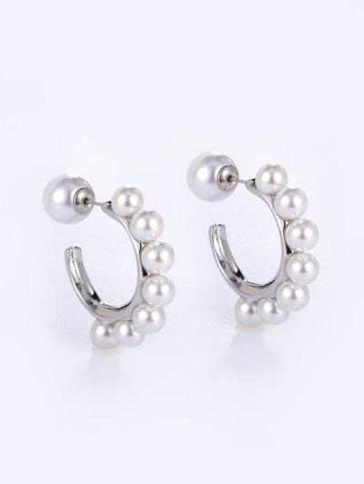 Faux Pearl C-shape Copper Earrings - White