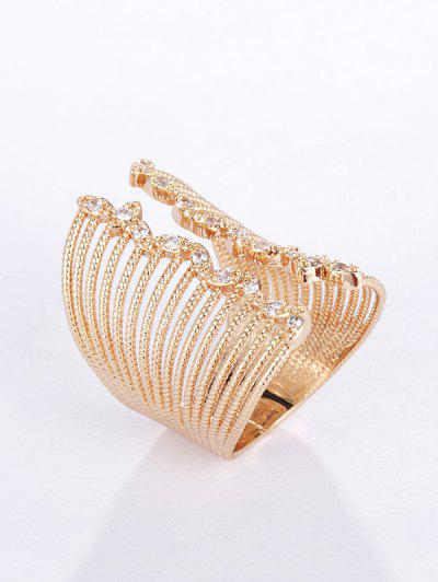 Copper Zircon Wide Opening Ring - Golden