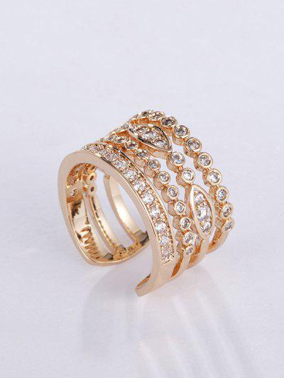 Copper Zircon Inlaid Open Ring - Golden