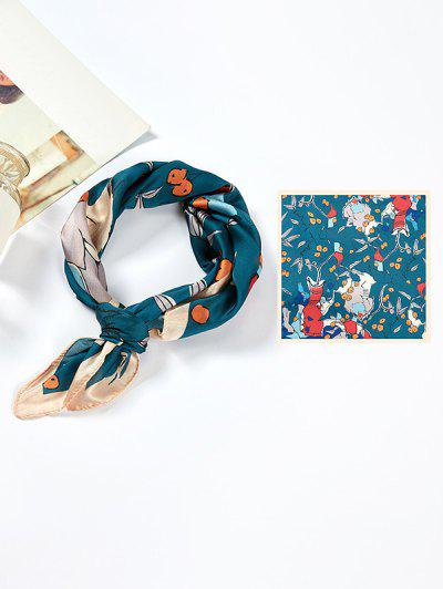 Abstract Printing Satin Square Scarf - Deep Blue