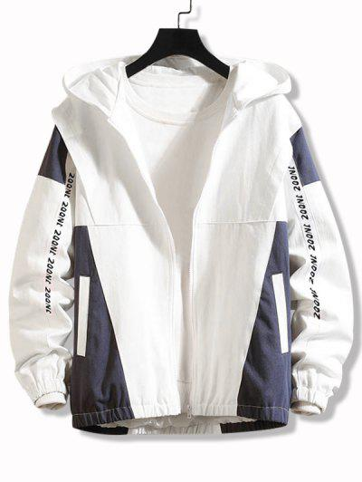 Letter Print Two Tone Hooded Jacket - White L