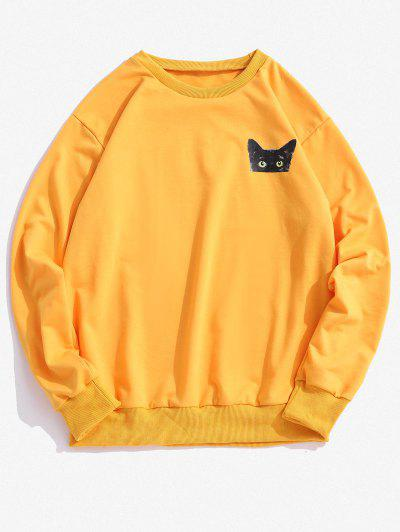 ZAFUL Animal Print Crew Neck Sweatshirt - Yellow 2xl