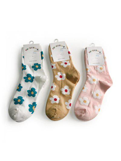 3 Pair Floral Print Cotton Crew Socks Set - Multi