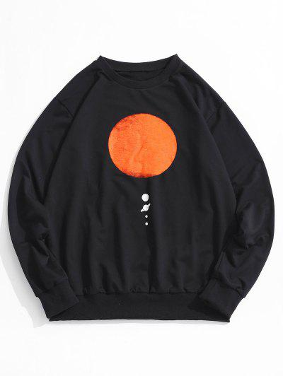 Sun Planet Print Crew Neck Sweatshirt - Black M