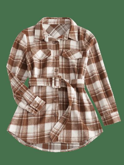 Flap Detail Plaid Belted Mini Dress