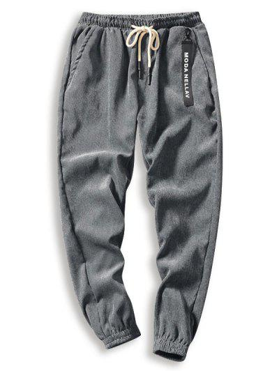 Pantalones De Pana De Cordón De Color Sólido - Gris L