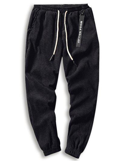 Solid Beam Picioare Pantaloni Corduroy - Negru Xl