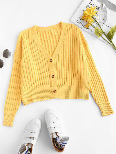 Wide Ribbed Batwing Sleeve Cardigan - Rubber Ducky Yellow S