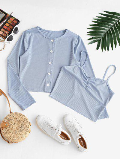 Ribbed Knit Cardigan And Crop Cami Top Set - Light Blue S