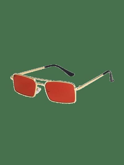 Metal Rectangle Crossbar Sunglasses