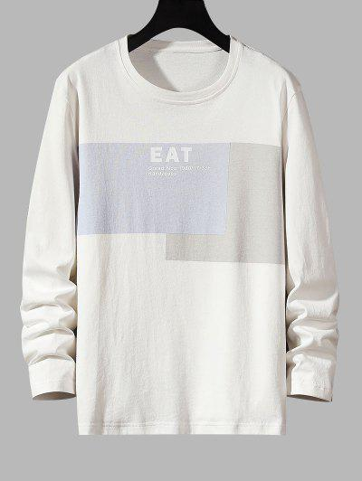 Eat Letter Print Contrast Patch Basic T-shirt - White Xs