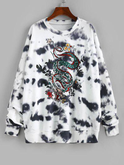 ZAFUL Chinoiserie Tie Dye Dragon Print Oversized Sweatshirt - White S