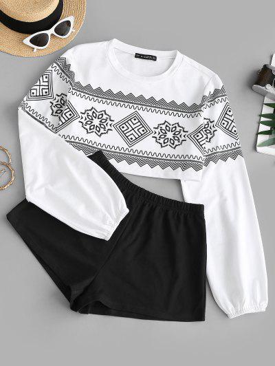Graphic Crop Sweatshirt And Pull On Shorts Set - Black L