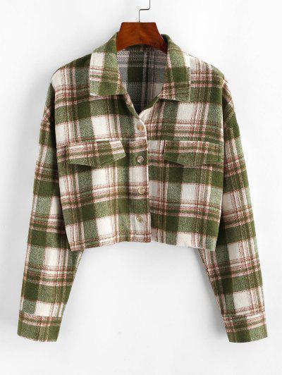 Button Up Plaid Wool Blend Shirt Coat - Light Green M