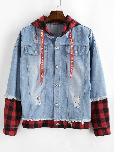Plaid Ripped Faux Twinset Hooded Jean Jacket - Light Blue M