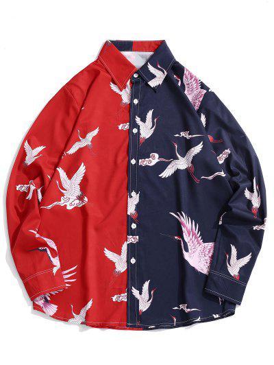 Contrast Crane Print Long Sleeve Shirt - Red M