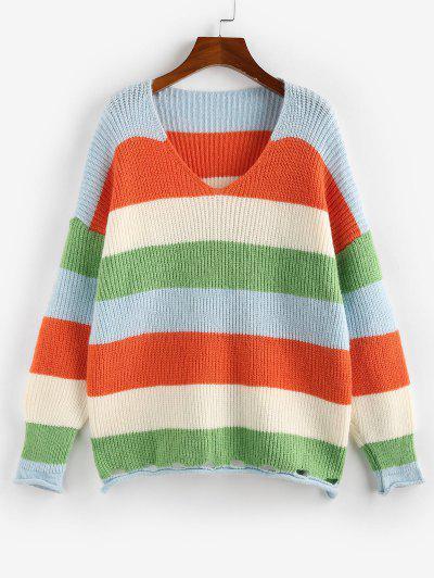 Striped Rolled Trim Drop Shoulder Slit Sweater - Multi L