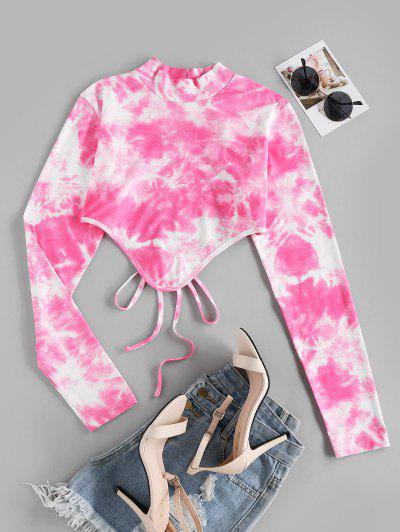 ZAFUL Tie Dye Hanky Hem Backless Crop T-shirt - Light Pink L