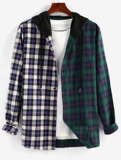 ZAFUL Contrast Plaid Print Hooded Shirt - Multi L