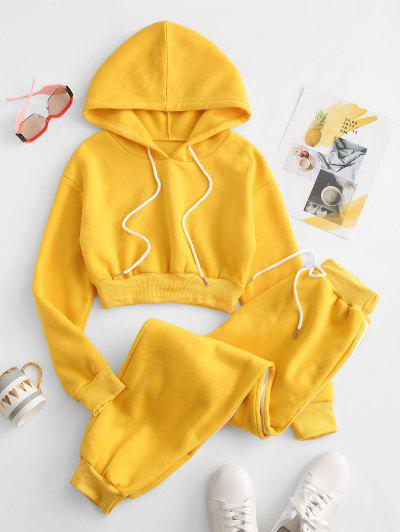 Drawstring Fleece Lined Pocket Two Piece Pants Set - Yellow S