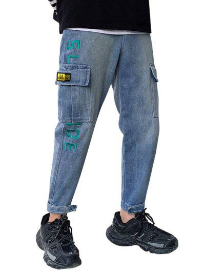 Drawstring Embroidery Hook And Loop Cargo Jeans - Blue M