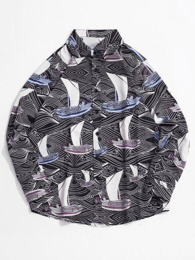 Allover Printed Button Up Long Sleeve Shirt - Black L