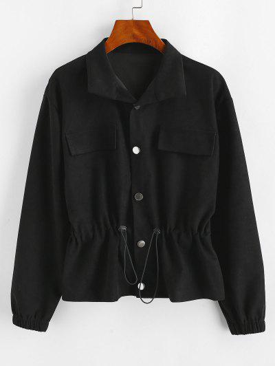 Flap Detail Toggle Drawstring Button Up Jacket - Black M