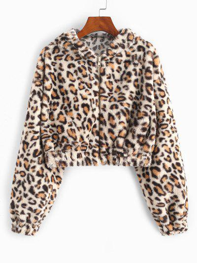 Leopard Plush Hooded Crop Coat - Coffee M
