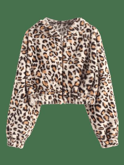 Leopard Plush Hooded Crop Coat