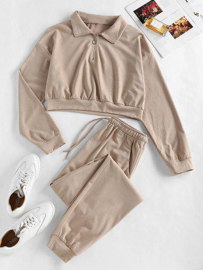 ZAFUL Half Zip Crop Sweatshirt And Pants Sport Suit - Camel Brown S