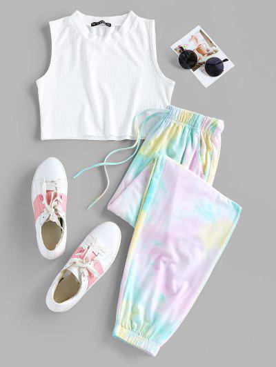 ZAFUL Tie Dye Ribbed Sleeveless Jogger Pants Set - White S