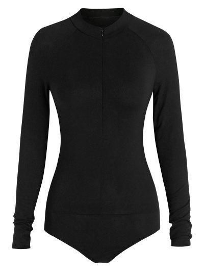 ZAFUL Mock Neck Half Zip Bodysuit - Black M
