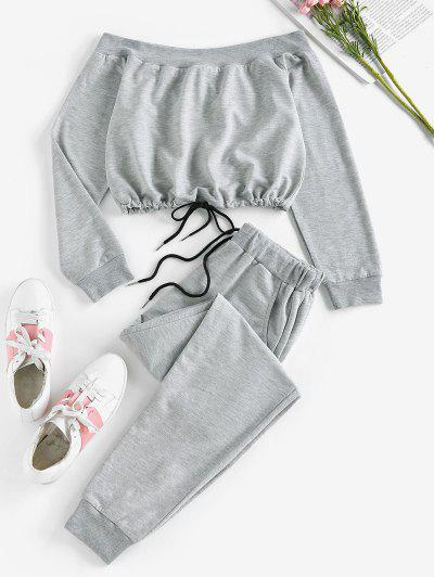 ZAFUL Off Shoulder Sweatshirt And Sweatpants Two Piece Set - Dark Gray S