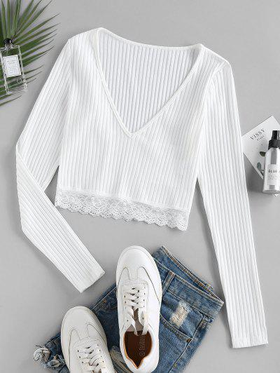 ZAFUL Lace Insert Ribbed Plunging T-shirt - White M
